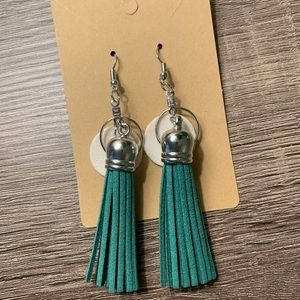 Green & White Clay & Faux Leather Tassel earrings